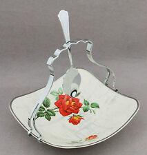 Vintage MIDWINTER Orange Roses Jam Dish Chrome Handle 1950s China High Tea