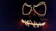 Jack Skellington ORANGE Rave Festival Halloween Costume Handmade Light Up MASK!