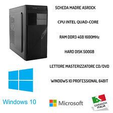 PC DESKTOP COMPUTER FISSO WINDOWS 10 ORIGINALE RAM 4GB/HDD 500GB ASSEMBLATO