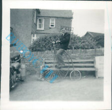 Man On Penny Farthing Bicycle In His Garden 1950's 2.5 x 2.5 Inches