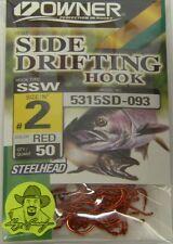 Owner Side Drifting Hooks Steelhead SSW Octopus #5315SD-093 Size #2 RED 50 pack