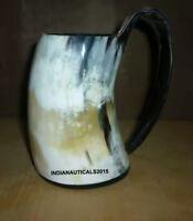 Buffalo Horn Mug Beer Beaker Stein Tumbler Viking Drinking Cup With Handle.