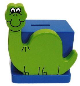 Green Dinosaur On Blue Wooden Money Box - Hand Made In Uk