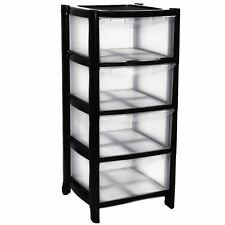 4c4e6bd8204 4 Drawer Plastic Large Tower Black Storage Drawers Chest Unit with Wheels UK