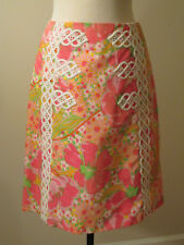 Vintage 1960s Lilly Pulitzer The Lilly Pink Floral Skirt White Lace - S/M