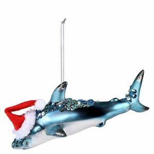 Christmas Tree Ornament Decoration - Glass Hammerhead Shark With Hat - (7342)
