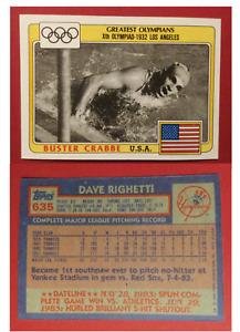 Topps Error~ 1983 Olympians Buster Crabbe -'84 Topps Baseball Back Dave Righetti
