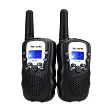 2× Retevis RT388 Kids Walkie Talkie UHF 0.5W Flashlight VOX Black 2 Way Radio US