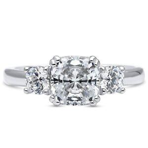 Amazing 4.00 CTTW Tri Stone Cushion Cut Cubic Zirconia Engagement Ring