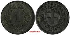 Switzerland Zinc 1945 B 1 Rappen KEY DATE ch.XF WWII Issue SCARCE DATE KM# 3a