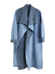 New Italian Boiled Wool Mix Coat LAGENLOOK Waterfall Pocket Duster Jacket
