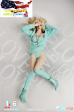 1/6 women Sexy Green Knitted Sweater Suit with Hoodie Clothes for Phicen ❶USA❶
