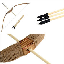 Wooden Bow with 3 Arrows & A Quiver Kids Teenage Archery Hunting Sporting Toy