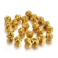 20pcs Gold Plated Tibetan Carved Metal Beads Round Nickel Free Spacers 10x10mm