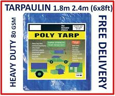 Heavy Duty Tarpaulin 6x8ft, 1.8m x 2.4 Metres, Blue Groundsheet Waterproof Cover