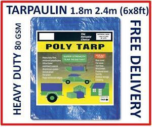 Heavy Duty Tarpaulin 6x8ft, 1.8m x 2.4 Metres, Blue Groundsheet Waterproof Cover