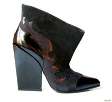 new $1125 SERGIO ROSSI black gray green WESTERN wedge ankle boots 40 10 gorgeous