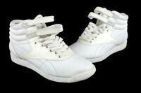 Women's White Leather Reebok Freestyle Hi High Top Sneakers Shoes Size US 7