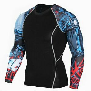 Men Fitness Long Sleeves Rashguard Shirt Men Bodybuilding Compression Workout