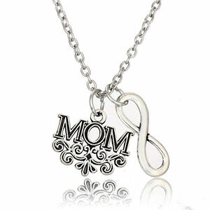Letter Infinity Double Pendant Necklace Family Gift Love Wife Husband Charm Mom