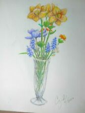 colored pencil drawing daffodil flowers