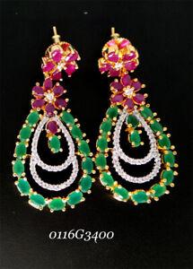 Emerald and  Ruby Zirconia Dangle Traditional Earrings