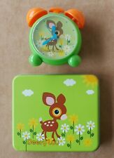 RARE Deery Lou Lot of 2 Stationery Tin + Alarm Clock Vtg Sanrio Japan Good Used
