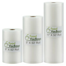 3 Rolls- 6x50, 8X50, 11X50 FoodVacBags 4mil Vacuum Sealer Bags for Foodsaver