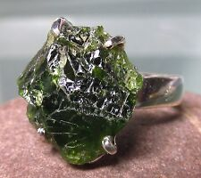 Sterling silver rough green chrome diopside ring UK P/US 7.75-8