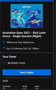 Australian Open Tennis 2021 - Valentines Day 2 Adult x Tickets - Rod Laver Arena