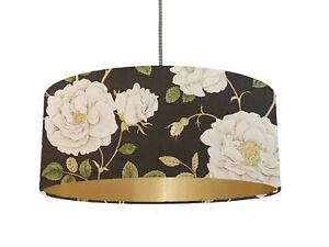 *6 Brushed linings* Sanderson Rosalie floral black fabric Lampshade *Champagne