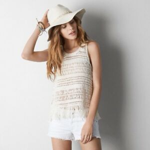 NWT American Eagle Outfitters Ivory Fringe Muscle Tank Top Large L