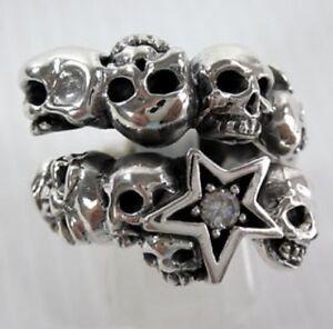 DIAMOND STAR SKULL 925 STERLING SILVER BAND RING NEW MEN'S ROCKER DESIGNER BIKER
