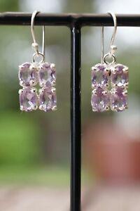 Amethyst Faceted Earrings In Sterling 925 Silver 4 gemstone Handmade Earrings