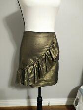 GB Gold Glitzy Daze Shimmer Ruffle Zip Back Holiday Short Skirt Size Small