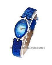 OMAX Ladies Sunburst Blue Cut Glass Watch SEIKO (japan) Movt.