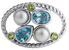 Blue Topaz Peridot and Pearl Ocean Grace Clasp for Lestage Convertible Bracelet