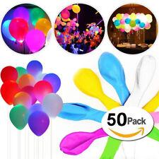 50 Stk Leuchtende LED Luftballons Geburtstag Hochzeit Party Deko Licht Ballons