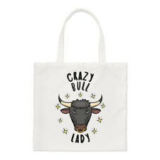 Crazy Bull Lady Stars Small Tote Bag - Funny Animal Shoulder