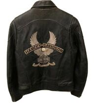 Harley Davidson Men's Eagle Embrodered Leather Motorcylce Jacket Size Medium