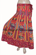 Indian Women Ethnic Floral Rapron Print Cotton Long Skirt Wrap Around Skirt Red