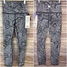 ❤️NWT LULULEMON High Times Pant Antique Paisley Black White Gray Speed Yoga 2 XS