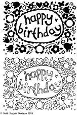 Feliz Cumpleaños claro CRAFT Sellos De Goma A6 Tarjeta de corazón floral rectángulos haciendo