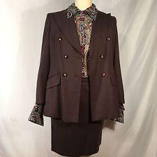 Escada Womens Size 40 Skirt Blazer Suit Blouse Busines Wool Charcoal Gray