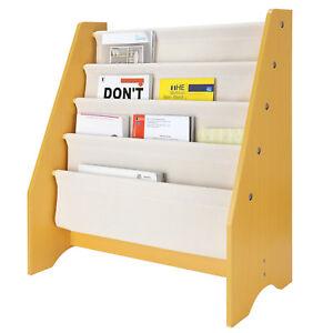 SortWise® Kids Book Rack Storage Sling Bookshelf 4-Tier for Toy Display Playroom