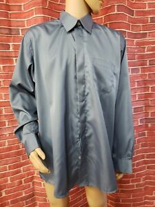 LUCASINI BLUE ZIGZAG 17 1/2 36/37 Spread Point Fly Front Mens Dress Shirt NWT#C