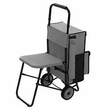 REST-N-ROLL DELUXE GROCERY CARTS FOLDING ON WHEELS WITH BUILT-IN SEAT, BRAND NEW