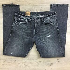 H&M &Denim Grey Slim Tapered Distressed Reg Waist Men's Jeans Size 33/32 (CC4)