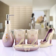 Modern High heels Style 5pcs  Bathroom Accessories Set Toothbrush Holder Soap