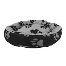 TRIXIE Sammy Dog Bed Small Black Grey | Paw Print Fleece Cushion Round 50cm